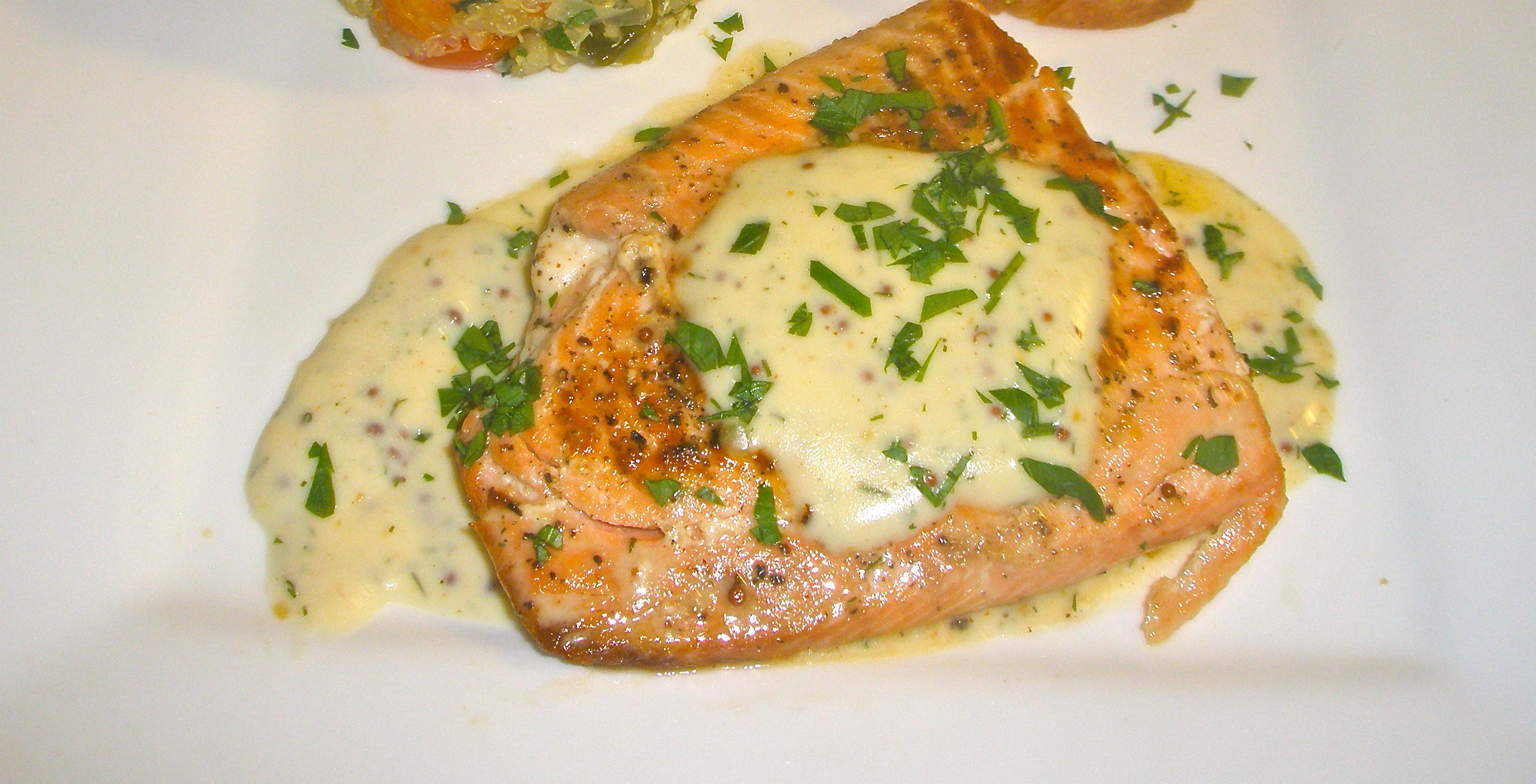 Weeknight Luxury: Salmon with Mustard Cream Sauce September 24, 2010